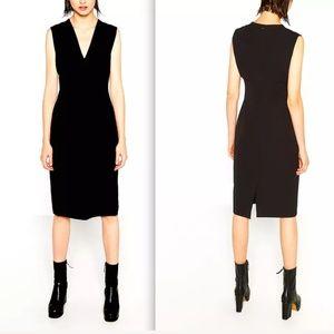 Zara woman black v-neck pencil midi dress